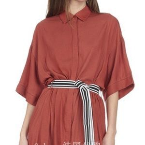 Maje Button Down Shirt Dress Rust